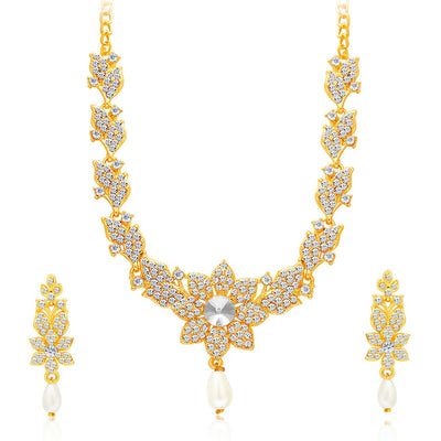 Sukkhi Sparkling Gold Plated AD Set of 2 Necklace Set Combo For Women-5