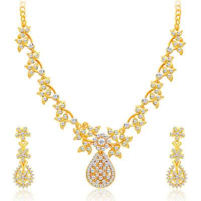 Sukkhi Alluring Gold Plated AD Necklace Set For Women-1