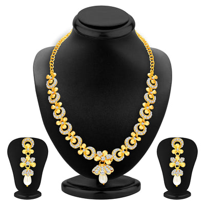 Sukkhi Intricately Gold Plated AD Set of 3 Necklace Set Combo For Women-4