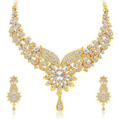 Sukkhi Intricately Gold Plated AD Set of 3 Necklace Set Combo For Women-7