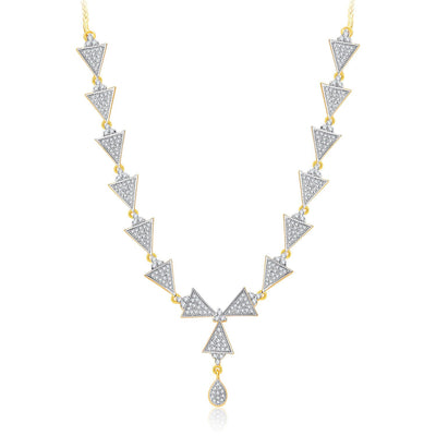 Pissara Trendy Gold And Rhodium Plated CZ Neklace Set For Women-1