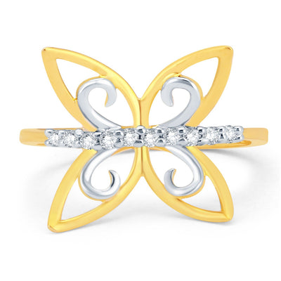 Sukkhi Butterfly Gold and Rhodium Plated CZ Ring-1