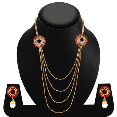 Sukkhi Gleaming Four Strings Gold Plated AD Necklace Set For Women