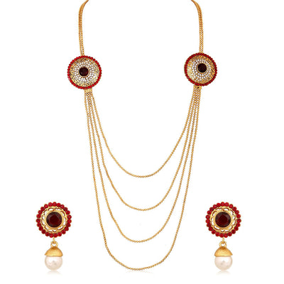 Sukkhi Gleaming Four Strings Gold Plated AD Necklace Set For Women-1