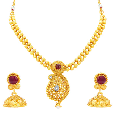 Sukkhi Pleasing Kairi Design Gold Plated Necklace Set For Women
