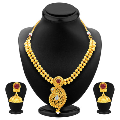 Sukkhi Pleasing Kairi Design Gold Plated Necklace Set For Women-1