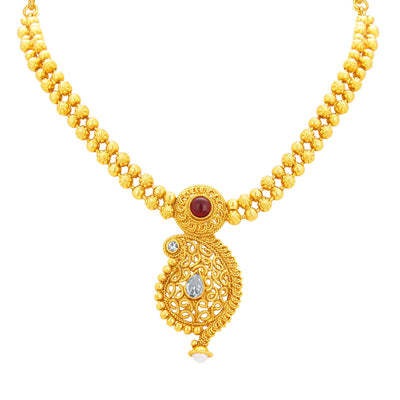 Sukkhi Pleasing Kairi Design Gold Plated Necklace Set For Women-2