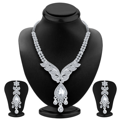 Sukkhi Finely Rhodium Plated AD Necklace Set For Women