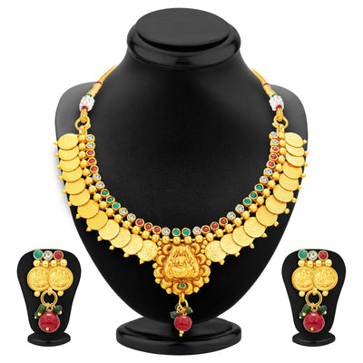 Sukkhi Blossomy Laxmi Temple Coin Gold Plated Necklace Set For Women-1