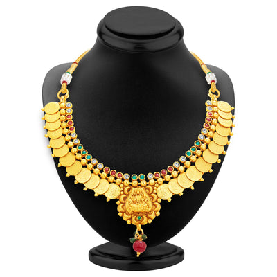 Sukkhi Blossomy Laxmi Temple Coin Gold Plated Necklace Set For Women-3