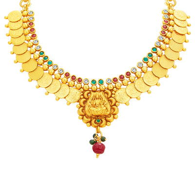 Sukkhi Blossomy Laxmi Temple Coin Gold Plated Necklace Set For Women-2