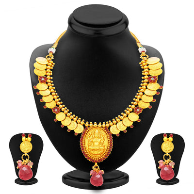 Sukkhi Appealing Laxmi Temple Coin Gold Plated Necklace Set For Women-1