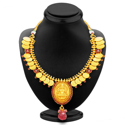 Sukkhi Appealing Laxmi Temple Coin Gold Plated Necklace Set For Women-3