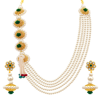Sukkhi Attractive Five String Gold Plated Necklace Set For Women