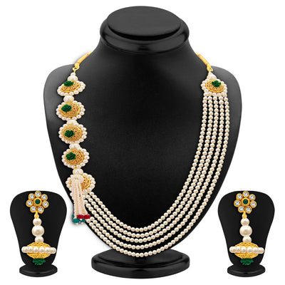 Sukkhi Attractive Five String Gold Plated Necklace Set For Women-1