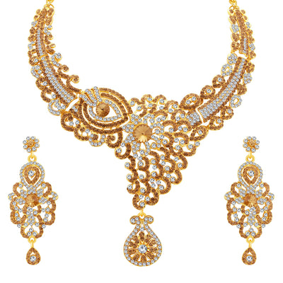 Sukkhi Glorious LCT Stone Gold Plated AD Necklace Set For Women-1