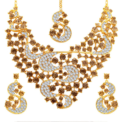 Sukkhi Splendid LCT Stone Gold Plated AD Necklace Set For Women-1