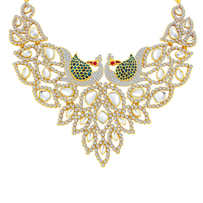 Sukkhi Sleek Peacock Gold Plated AD Necklace Set For Women-2