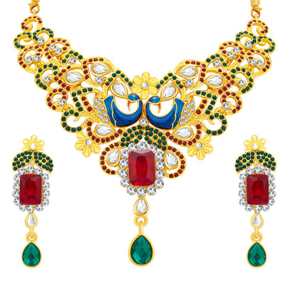 Sukkhi Wavy Peacock Gold Plated AD Necklace Set For Women-1