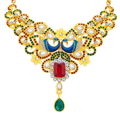 Sukkhi Wavy Peacock Gold Plated AD Necklace Set For Women-3