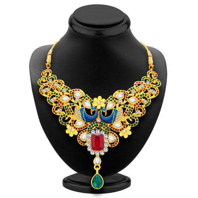 Sukkhi Wavy Peacock Gold Plated AD Necklace Set For Women-2