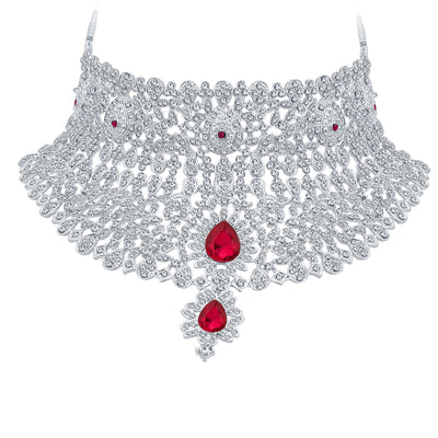 Sukkhi Classic Rhodium Plated AD Necklace Set For Women-3