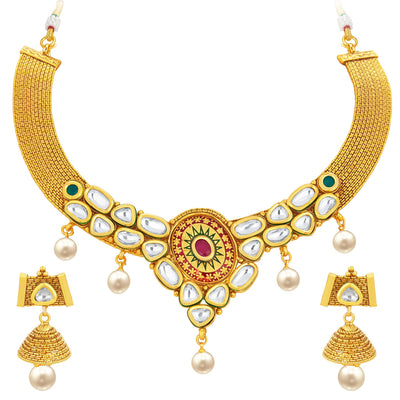 Sukkhi Angelic Gold Plated Kundan Necklace Set For Women