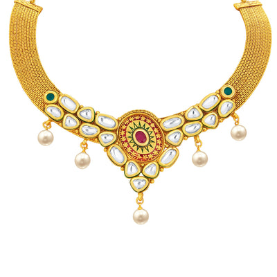 Sukkhi Angelic Gold Plated Kundan Necklace Set For Women-2