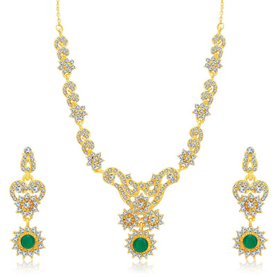 Sukkhi Creative Gold Plated AD Set of 3 Necklace Set Combo For Women-1