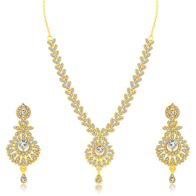 Sukkhi Creative Gold Plated AD Set of 3 Necklace Set Combo For Women-2