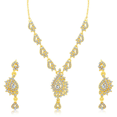 Sukkhi Creative Gold Plated AD Set of 3 Necklace Set Combo For Women-3