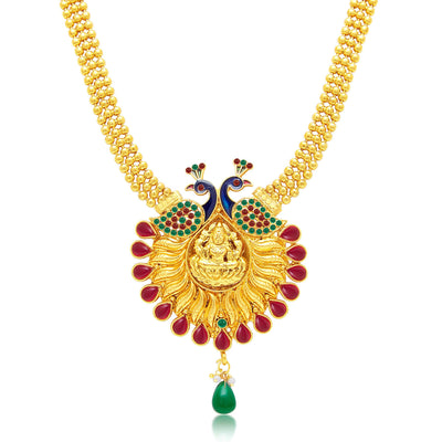 Sukkhi Attractive Laxmi Temple Peacock Gold Plated Necklace Set For Women-1