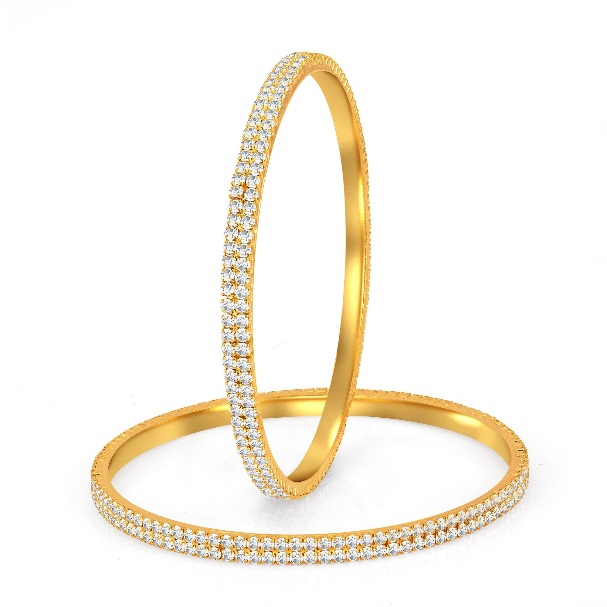4f0543c4411 Sukkhi Glimmery Gold Plated Set OF 2 Australian Diamond Two Line Bangle