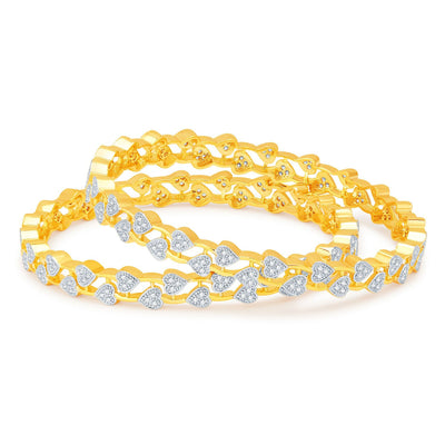 Sukkhi Eye-Catchy Gold and Rhodium Plated CZ Bangles-1