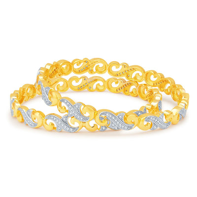 Sukkhi Beguiling Gold and Rhodium Plated CZ Bangles-1
