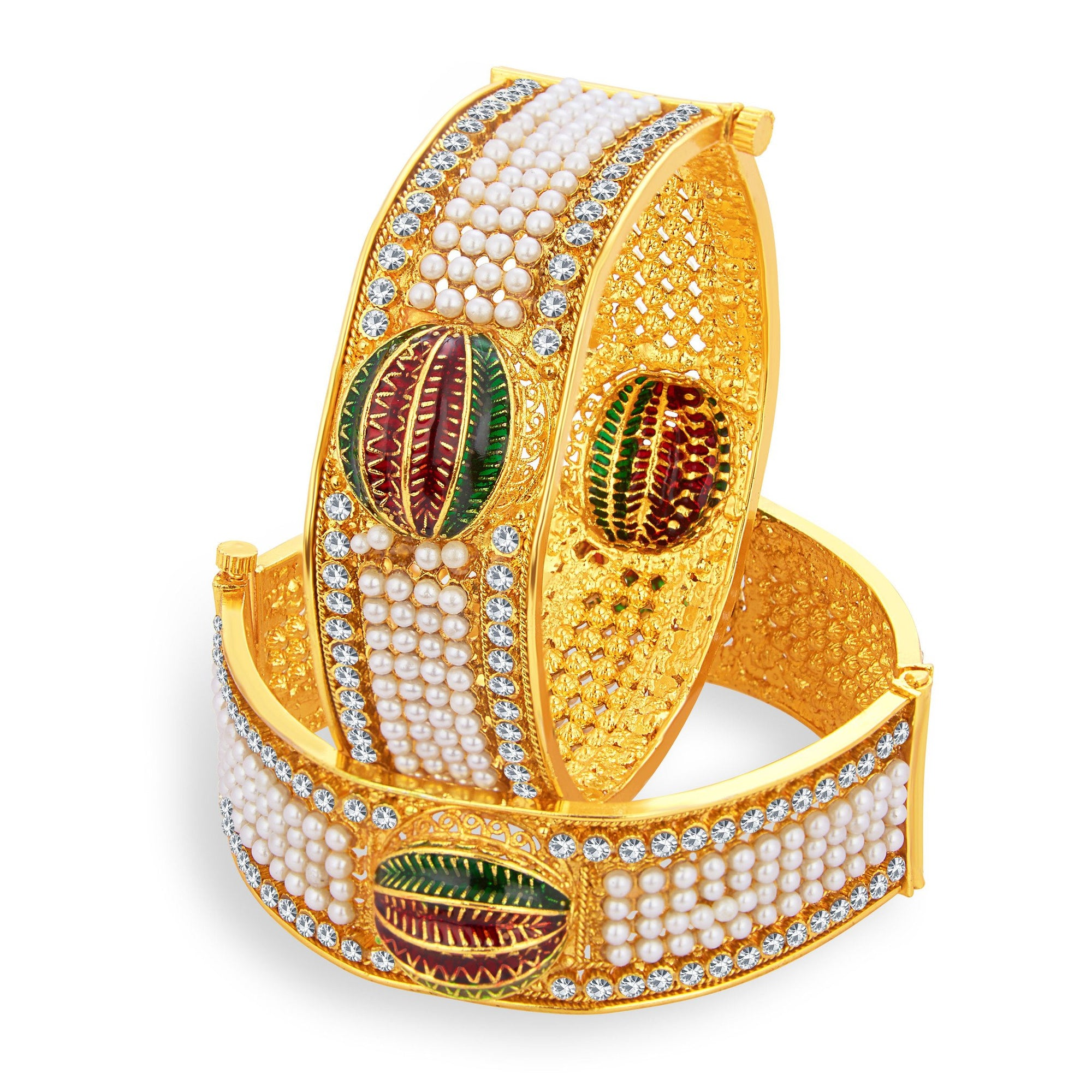 c7c1fb27160 Sukkhi Royal Gold Plated Pearl AD Bangle For Women - Sukkhiglobal