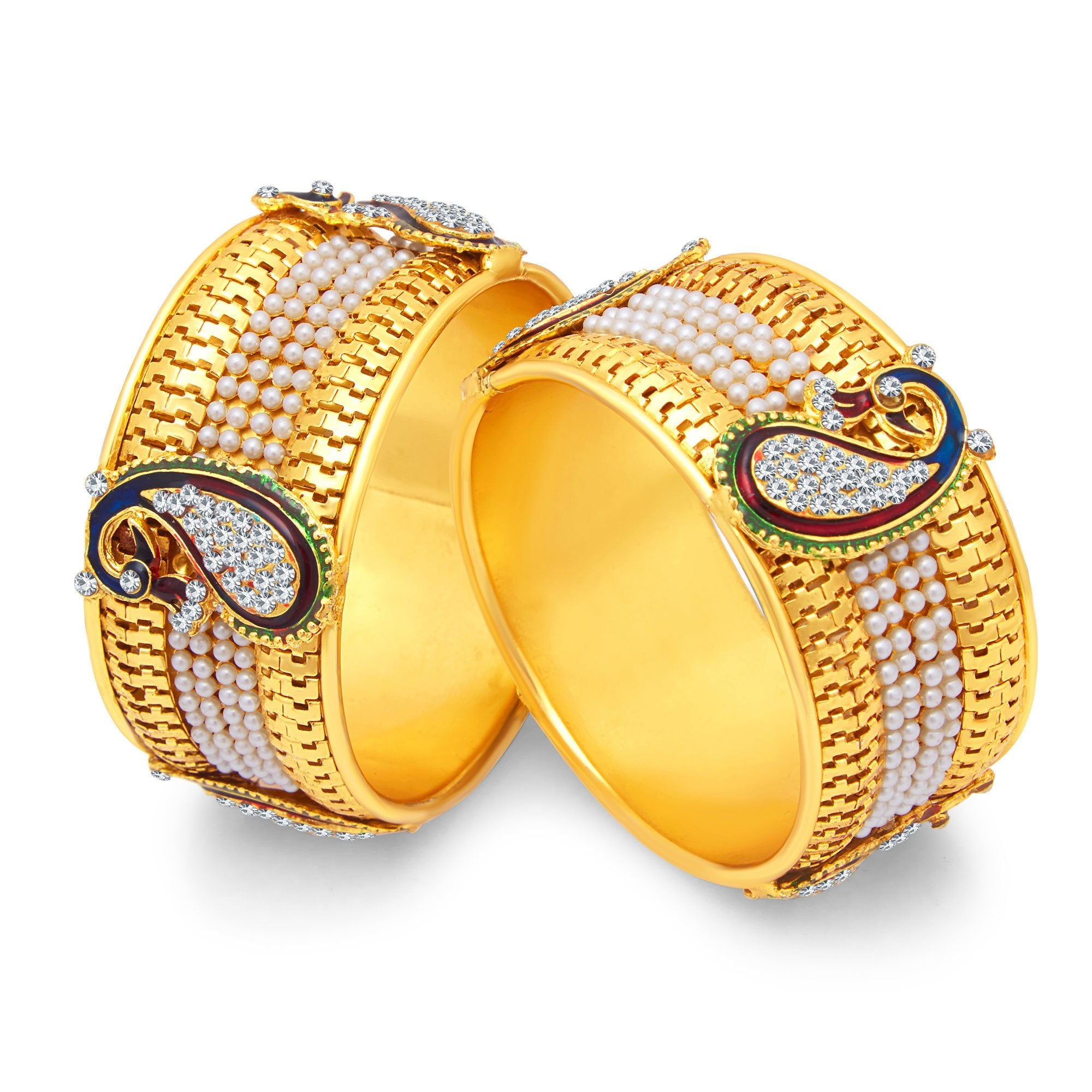 Trustful Indian Bollywood Traditional Goldplated Kada Bracelets Bangle Jewellery 2*6 With A Long Standing Reputation Jewelry & Watches