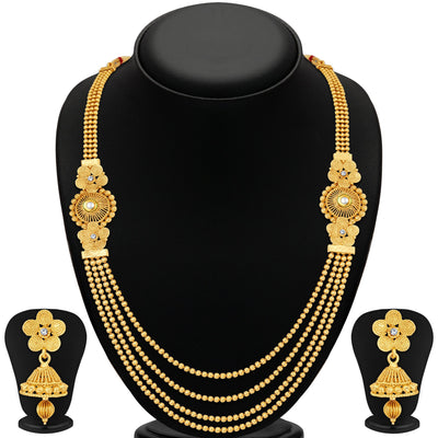 Sukkhi Dazzling Jalebi 4 String Gold Plated Set of 2 Necklace Set Combo For Women-2