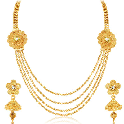 Sukkhi Beguiling 4 String Gold Plated Set of 2 Necklace Set Combo For Women-5