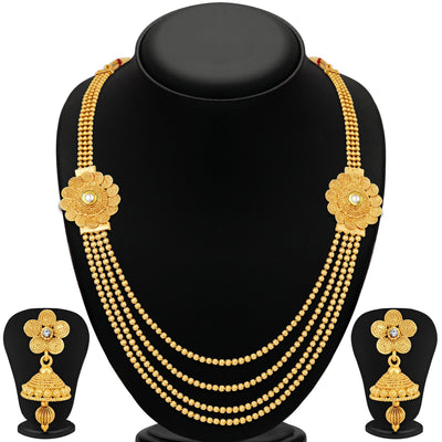 Sukkhi Dazzling Jalebi 4 String Gold Plated Set of 2 Necklace Set Combo For Women-4