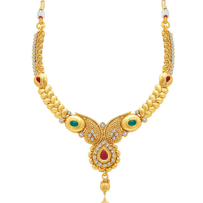 Sukkhi Gorgeous Gold Plated AD Necklace Set For Women-1