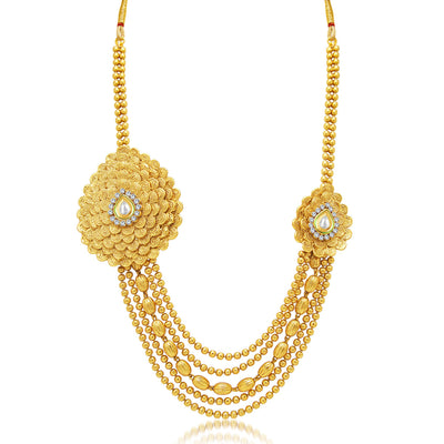 Sukkhi Exquitely Jalebi 5 String Gold Plated AD Necklace Set For Women-1