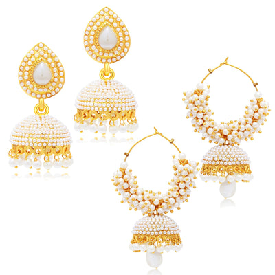 Sukkhi Astonishing Jhumki Gold Plated Set of 2 Pair Earring Combo For Women