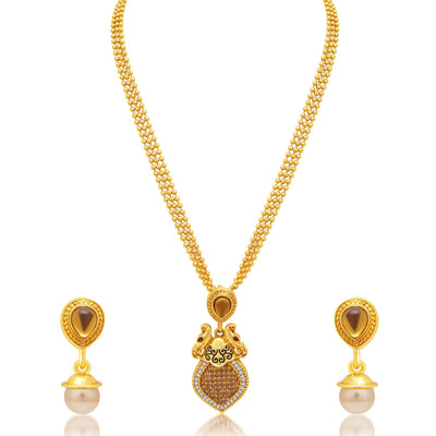 Sukkhi Marquise Peacock Gold Plated AD Necklace Set For Women