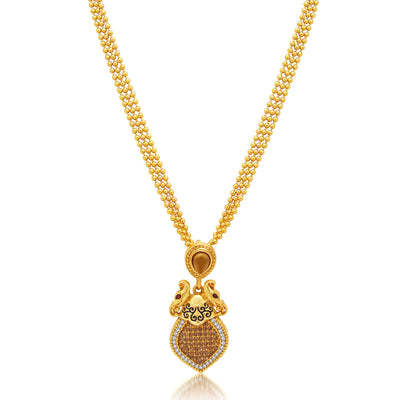 Sukkhi Marquise Peacock Gold Plated AD Necklace Set For Women-1