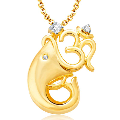 Pissara Pretty Ganesha Gold Plated Set of 4 God Pendant with Chain Combo-2