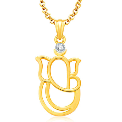 Pissara Pretty Ganesha Gold Plated Set of 4 God Pendant with Chain Combo-4