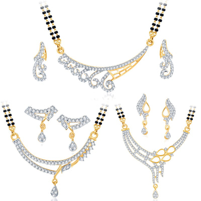 Pissara Marvellous Gold Plated CZ Set of 3 Mangalsutra Set Combo For Women