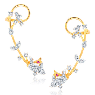 Pissara Fascinating Gold and Rhodium Plated Cubic Zirconia Stone Studded Ear cuff-1