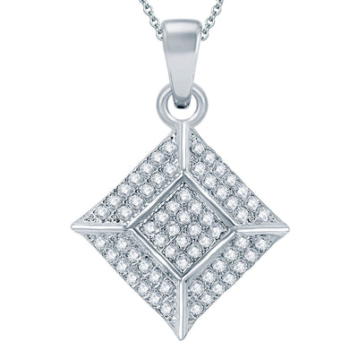 Pissara Traditional Rhodium plated Micro Pave Setting CZ Pendant Set-1